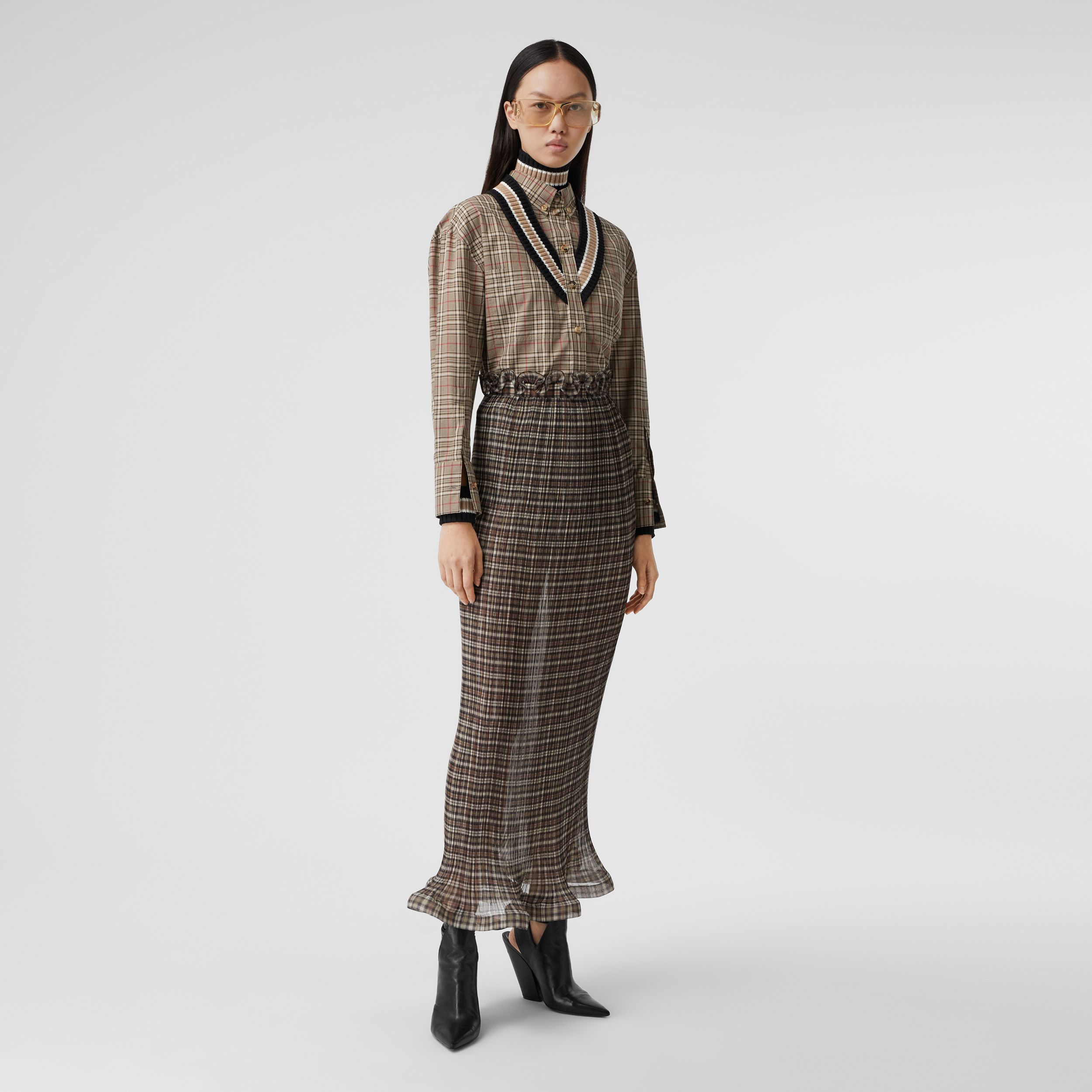 Rib Knit Cricket Stripe Check Cotton Oversized Shirt in Soft Fawn - Women | Burberry - 1