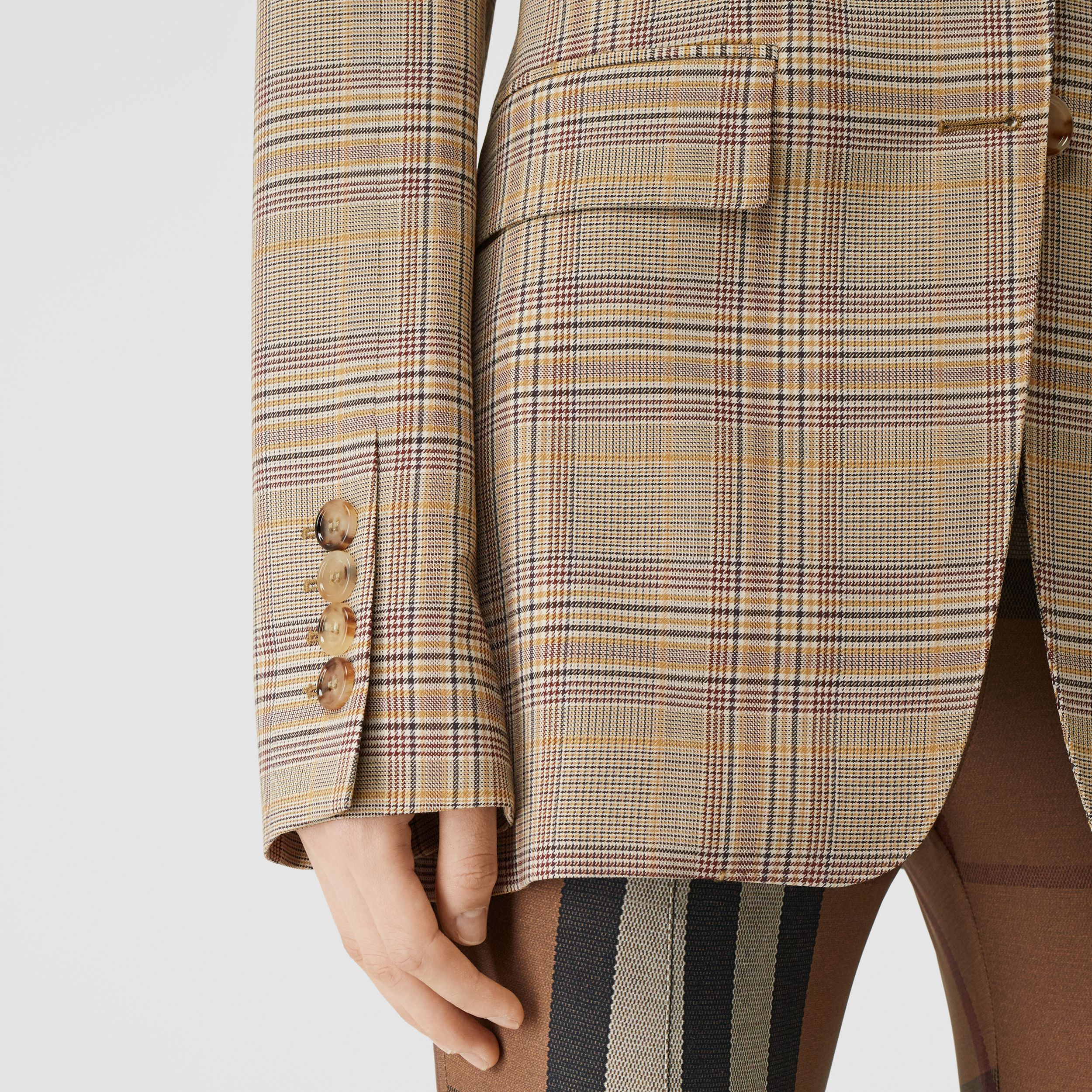 Check Wool Oversized Tailored Jacket in Dark Honey - Women | Burberry - 4