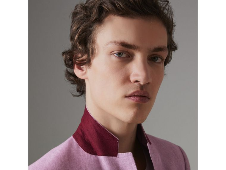 Soho Fit Linen Tailored Jacket in Pink Heather - Men | Burberry Australia - cell image 4