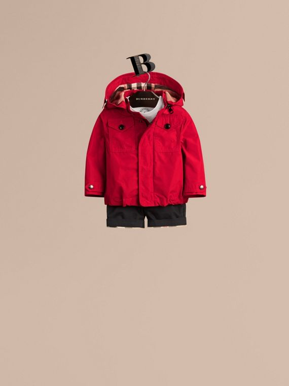 Military red Hooded Technical Jacket - cell image 2