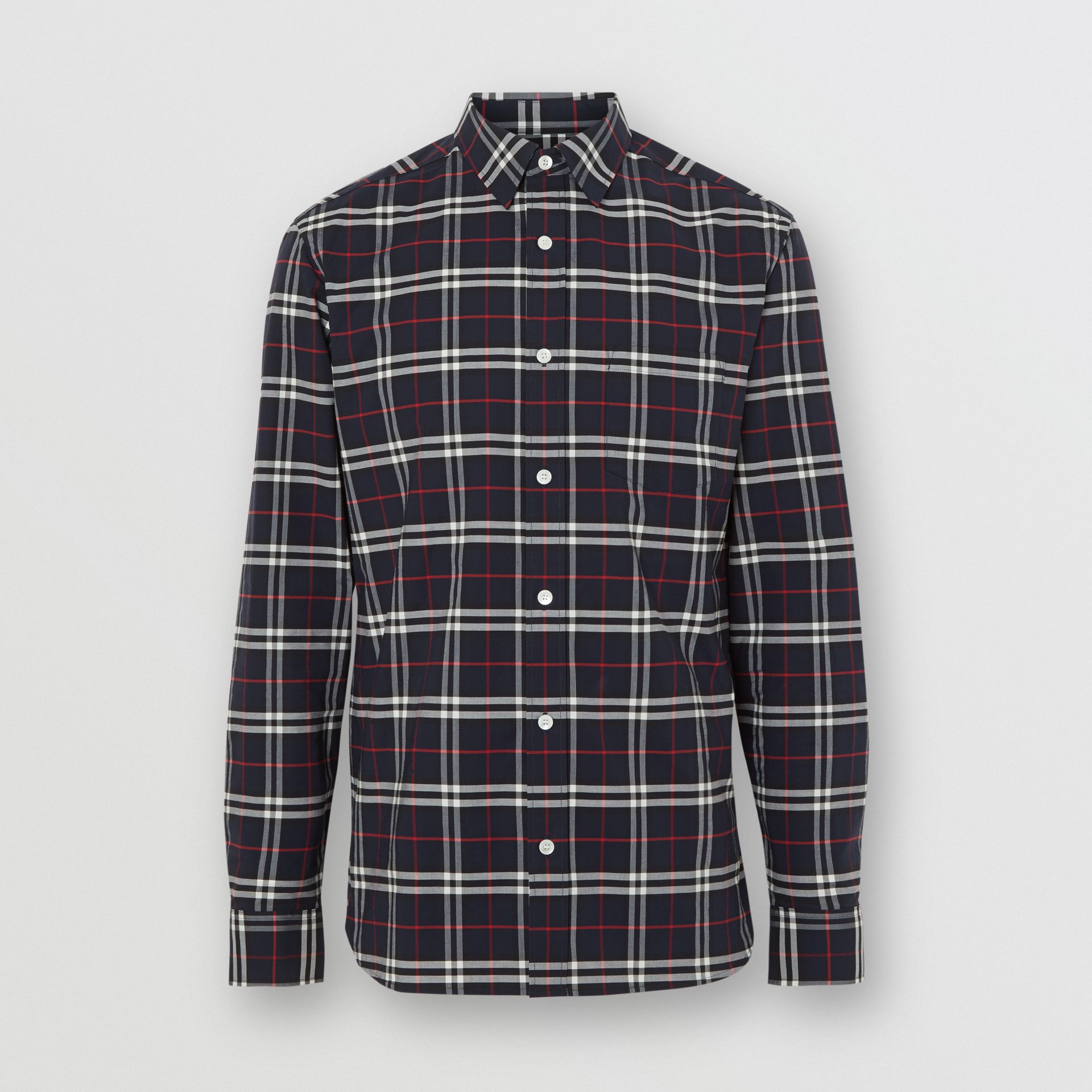 Check Stretch Cotton Shirt in Navy - Men | Burberry Australia - gallery image 3