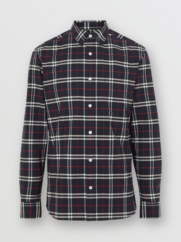 Check Stretch Cotton Shirt in Navy - Men | Burberry Australia - cell image 3
