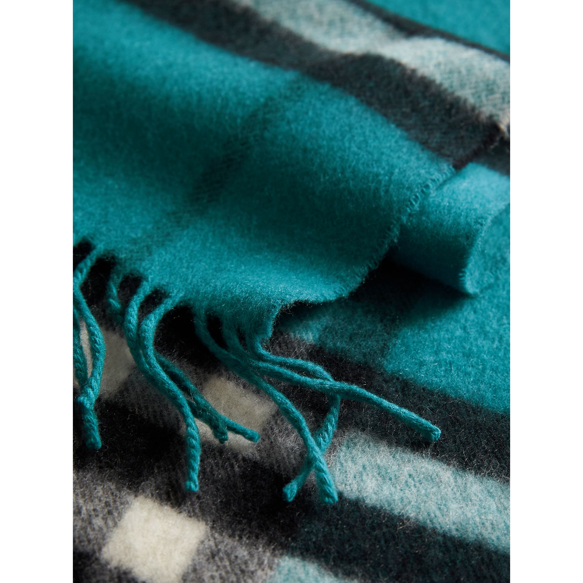 The Classic Check Cashmere Scarf in Dark Aqua | Burberry Australia - gallery image 5