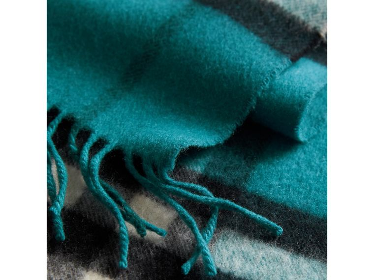 The Classic Check Cashmere Scarf in Dark Aqua | Burberry Australia - cell image 4