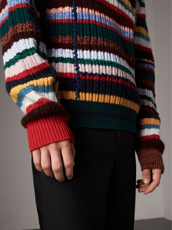 Striped Wool Cashmere Cotton Sweater in Dark Racing Green - Men | Burberry - cell image 1