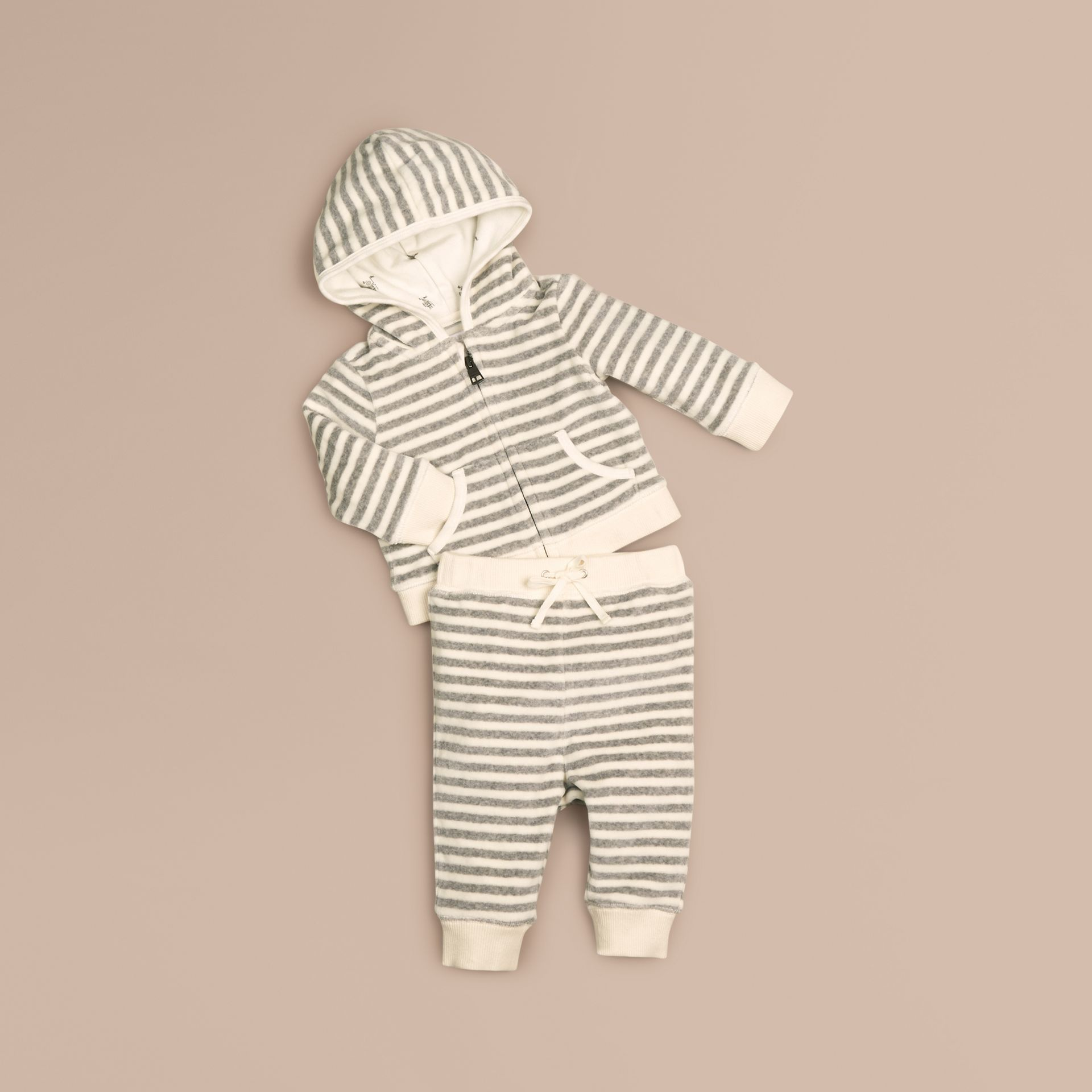 Grey melange/natural white Velour Stripe Two-Piece Set - gallery image 1