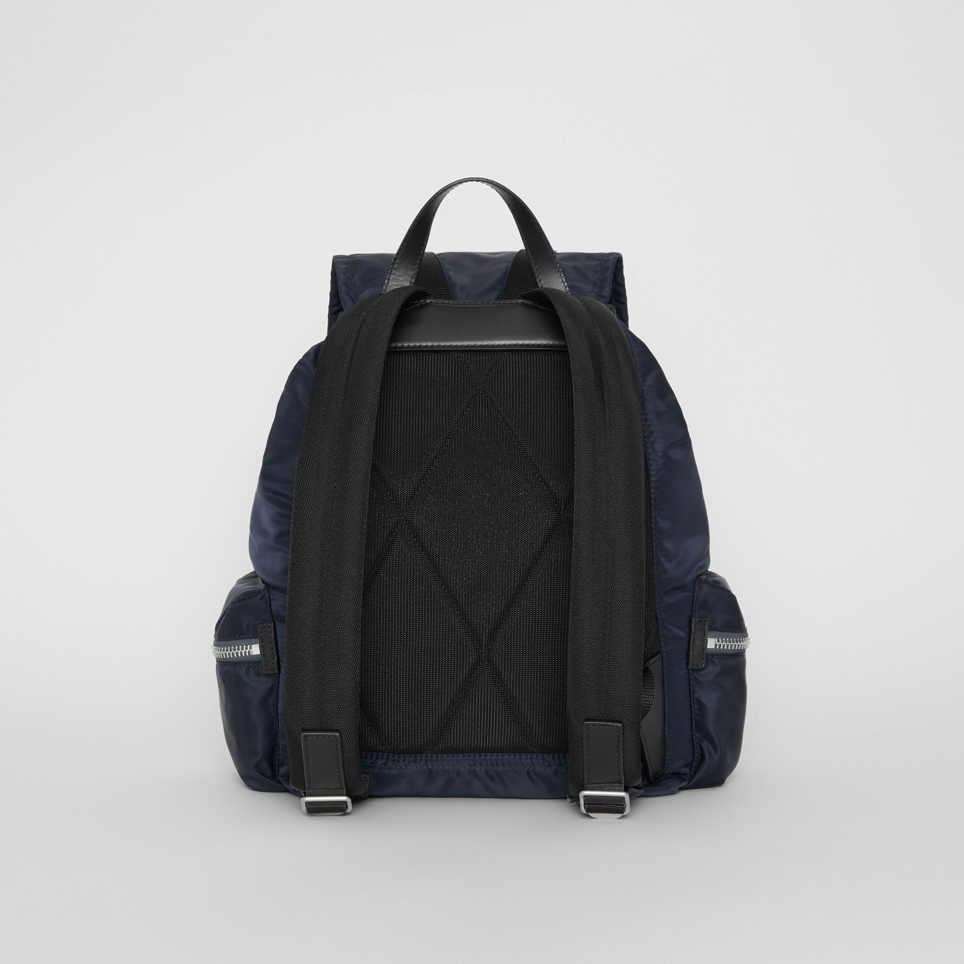 The Large Rucksack in Aviator Nylon and Leather in Ink Blue - Men | Burberry Canada - gallery image 7