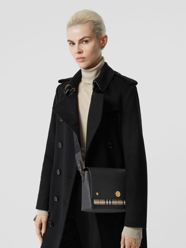 Leather and Vintage Check Note Crossbody Bag in Black - Women | Burberry United Kingdom - cell image 2