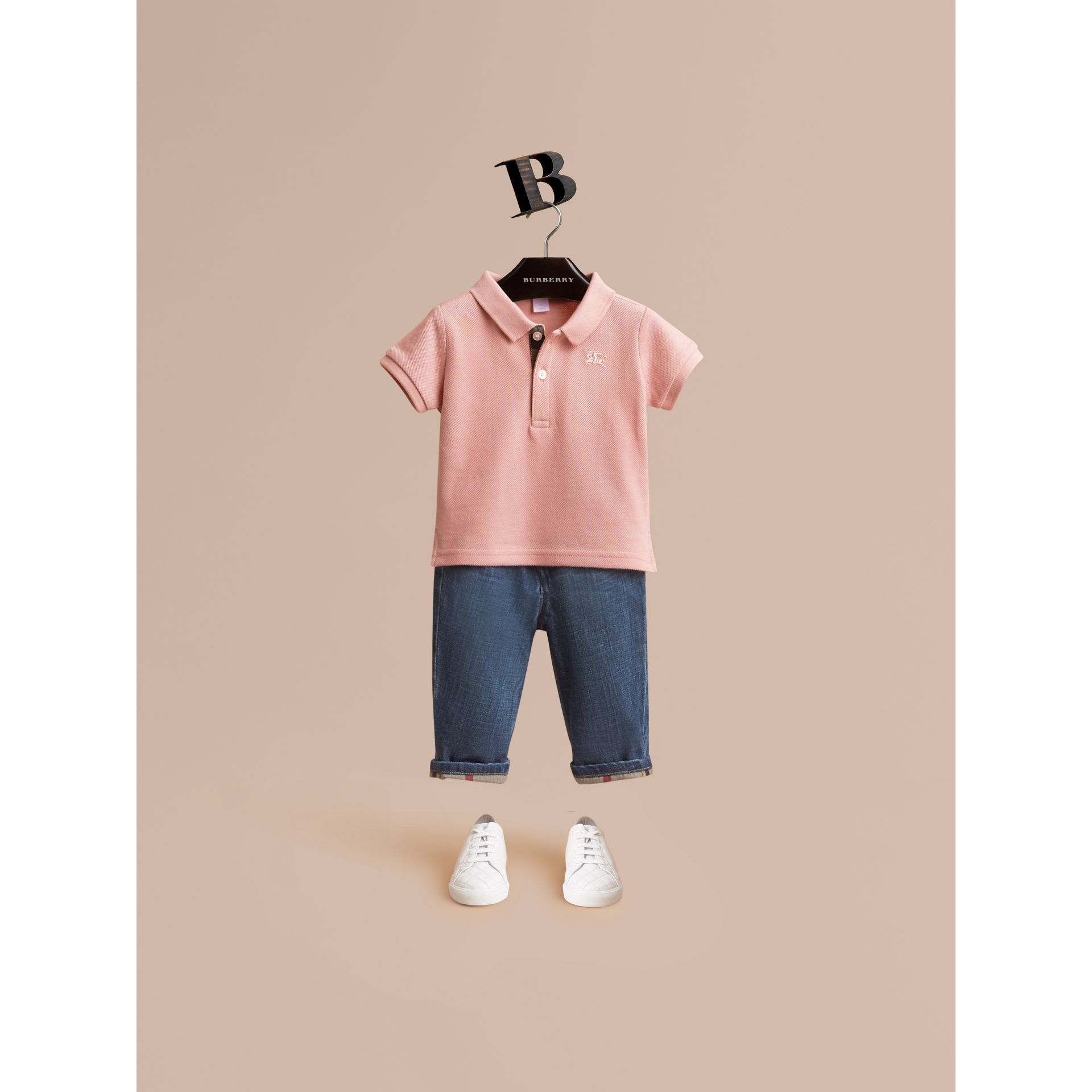 Check Placket Cotton Piqué Polo Shirt in Chalk Pink | Burberry - gallery image 1