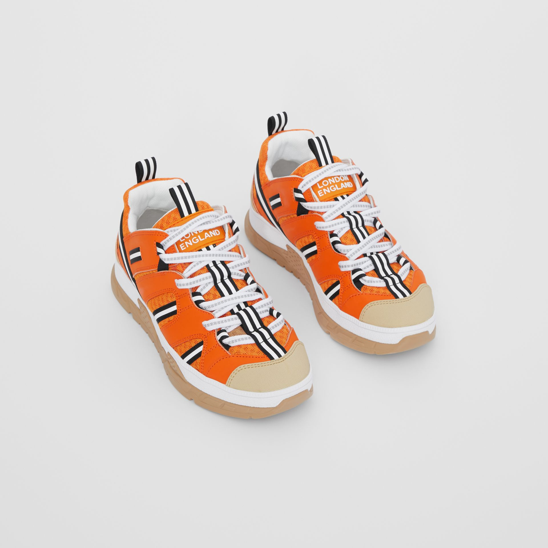 Leather and Mesh Union Sneakers in Bright Orange - Children | Burberry United States - gallery image 0