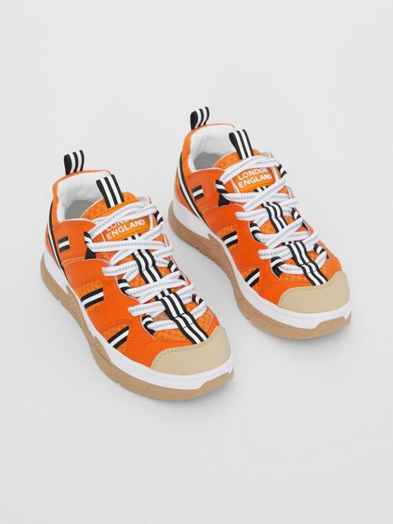 Sneakers Union en cuir et mesh (Orange Vif)