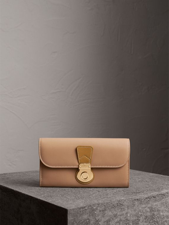 Two-tone Trench Leather Continental Wallet in Ochre Yellow/honey
