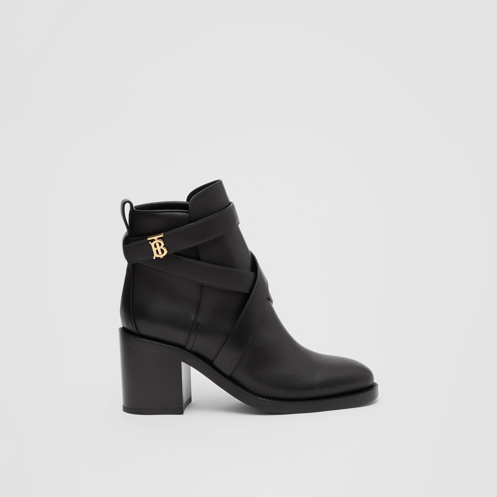 Monogram Motif Leather Ankle Boots in Black - Women | Burberry - gallery image 5