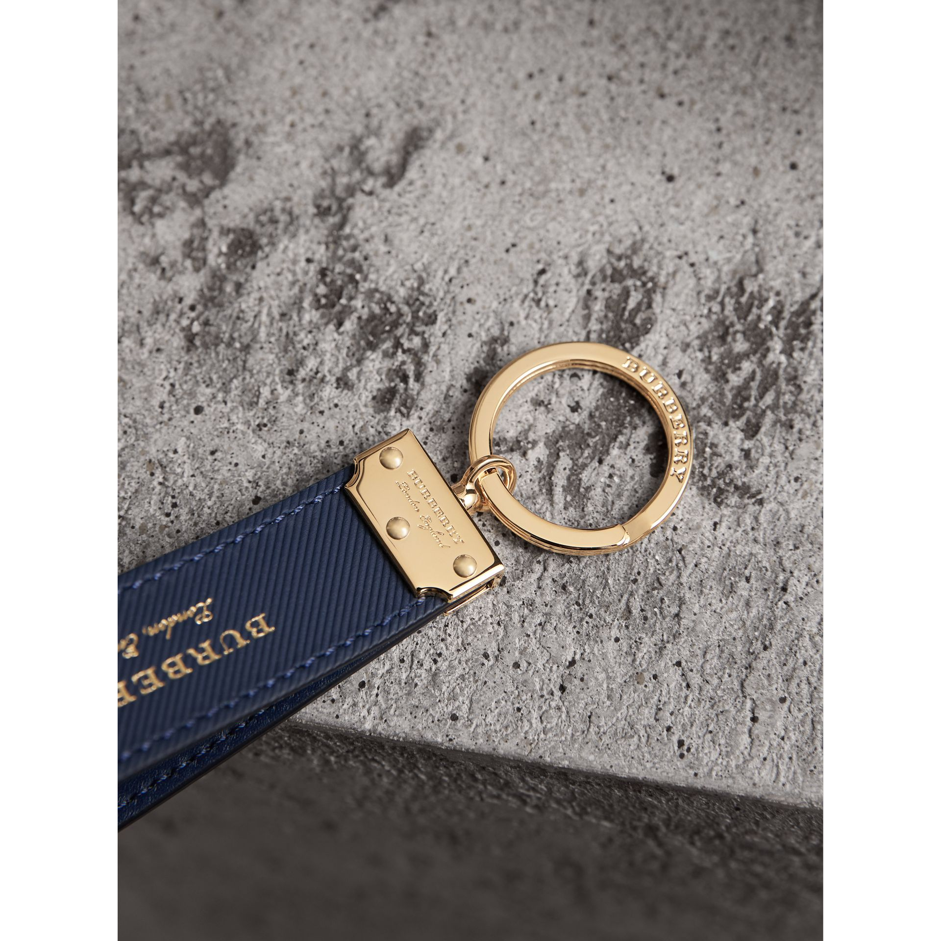Trench Leather Key Ring in Ink Blue - Men | Burberry - gallery image 2