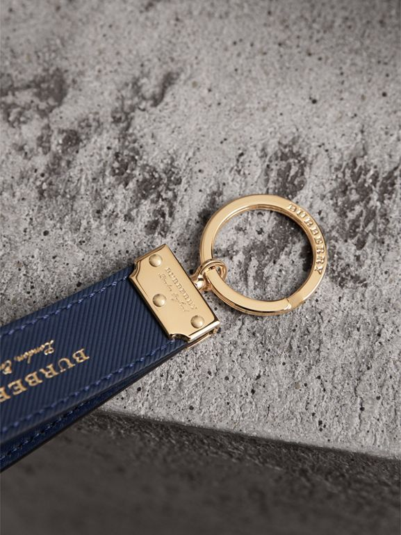 Trench Leather Key Ring in Ink Blue | Burberry - cell image 1
