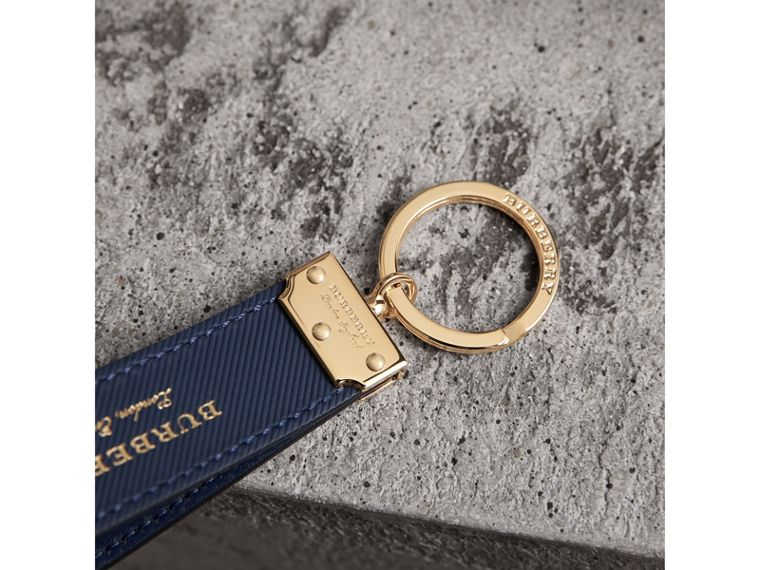 Trench Leather Key Ring in Ink Blue - Men | Burberry - cell image 1