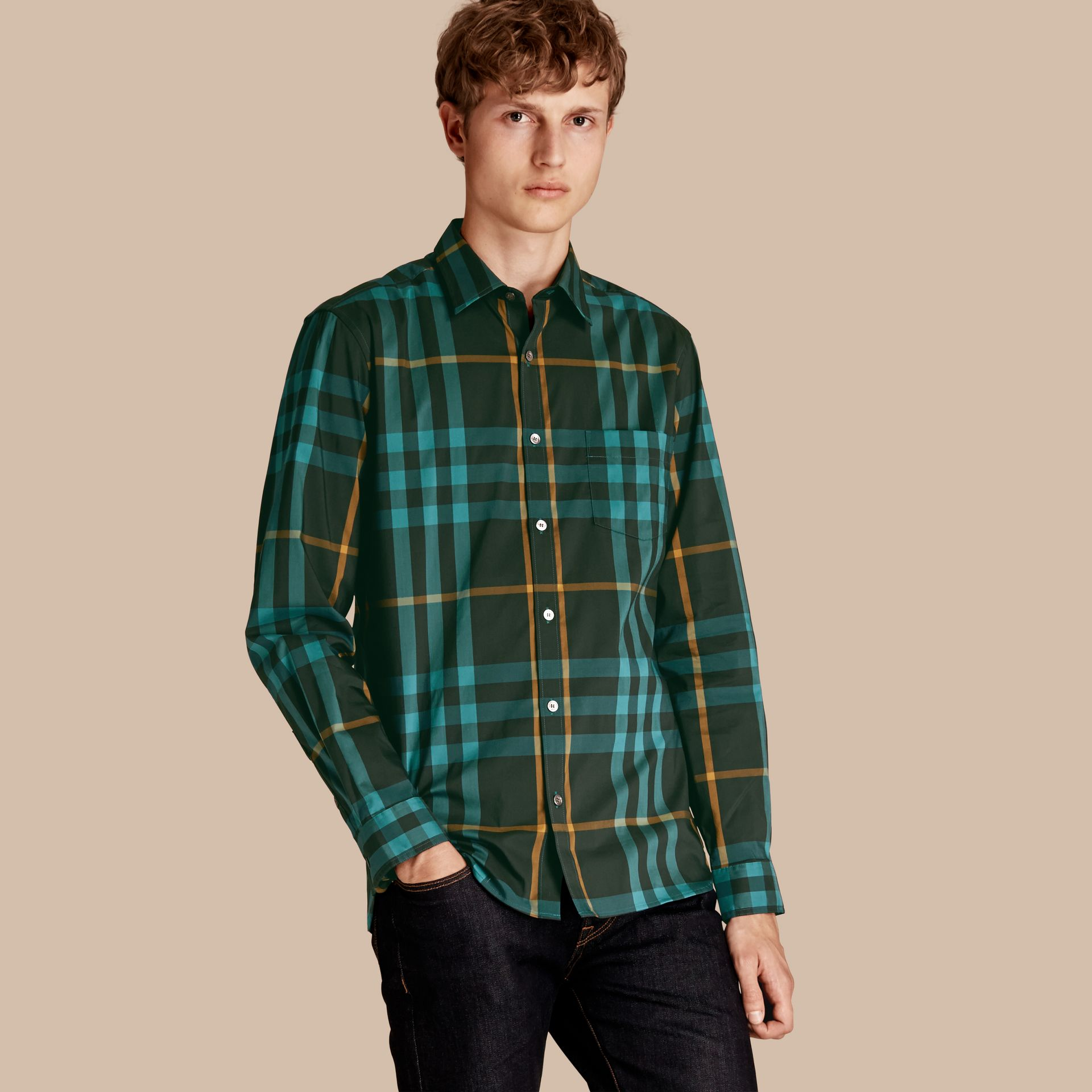 Check Stretch Cotton Shirt Dark Turquoise - gallery image 1