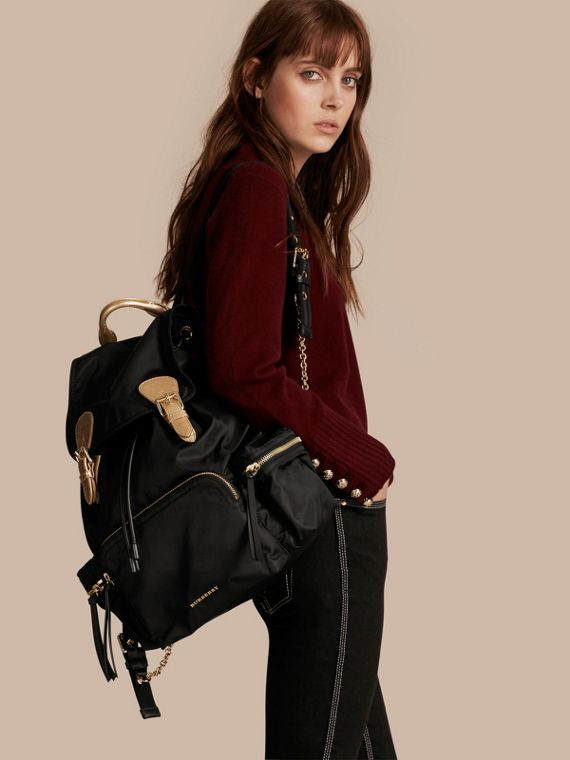 The Large Rucksack in Two-tone Nylon and Leather - cell image 2
