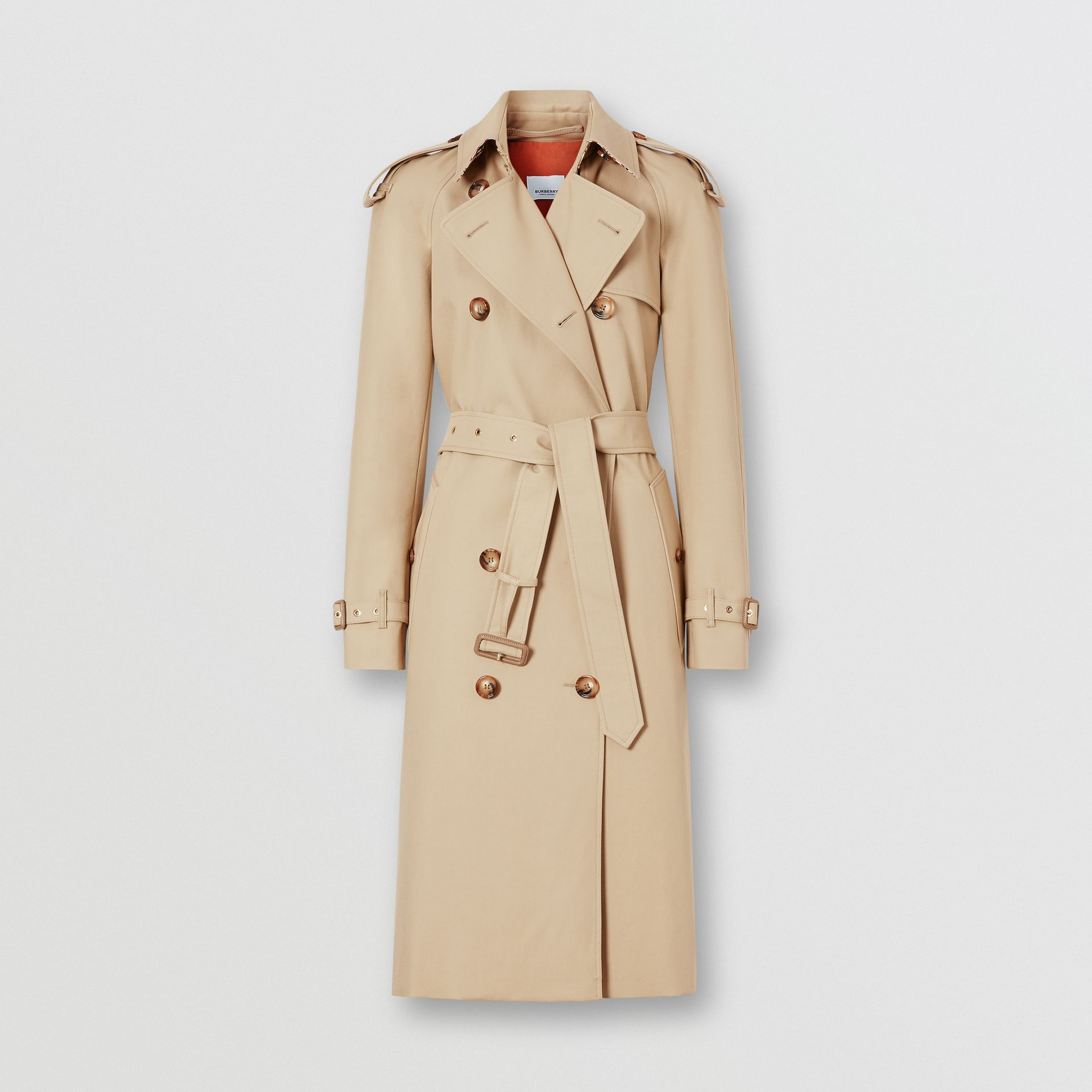 Archive Print-lined Cotton Gabardine Trench Coat in Honey - Women | Burberry - gallery image 3