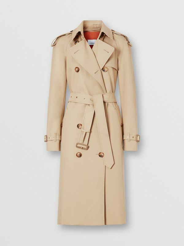 Archive Print-lined Cotton Gabardine Trench Coat in Honey - Women | Burberry Australia - cell image 3