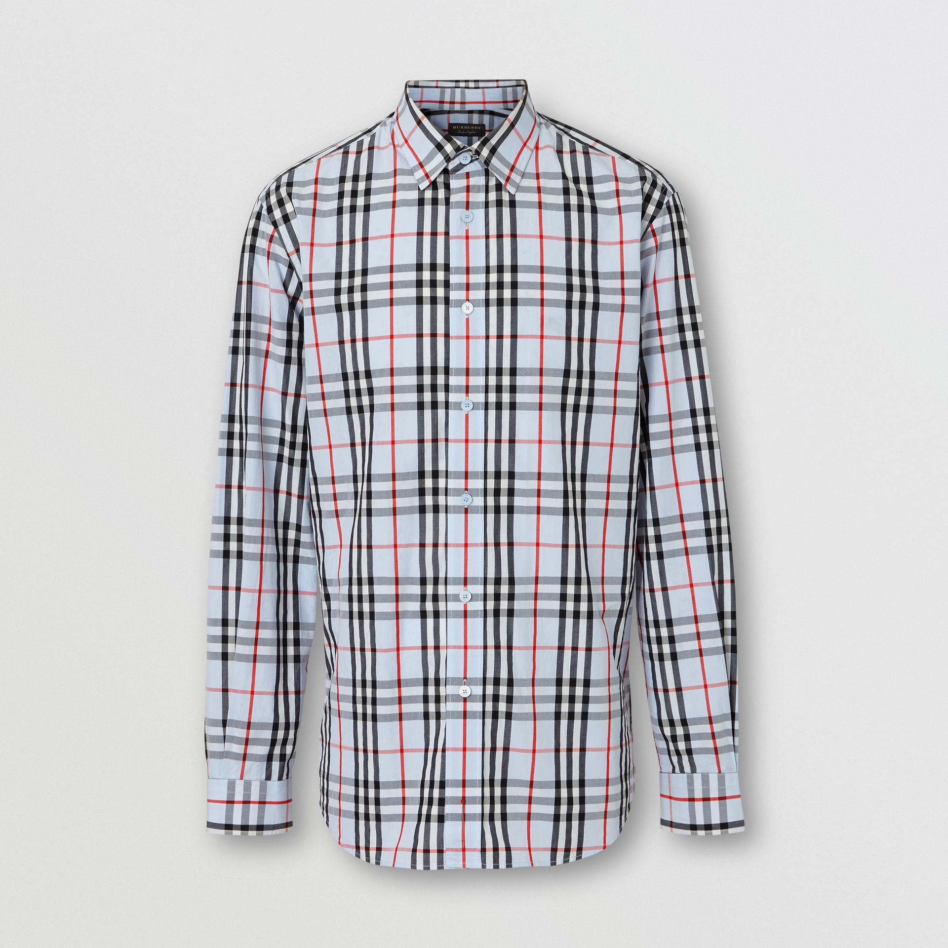 Vintage Check Cotton Shirt in Pale Blue | Burberry Australia - gallery image 2