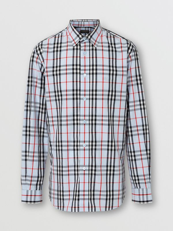 Vintage Check Cotton Shirt in Pale Blue | Burberry Australia - cell image 2