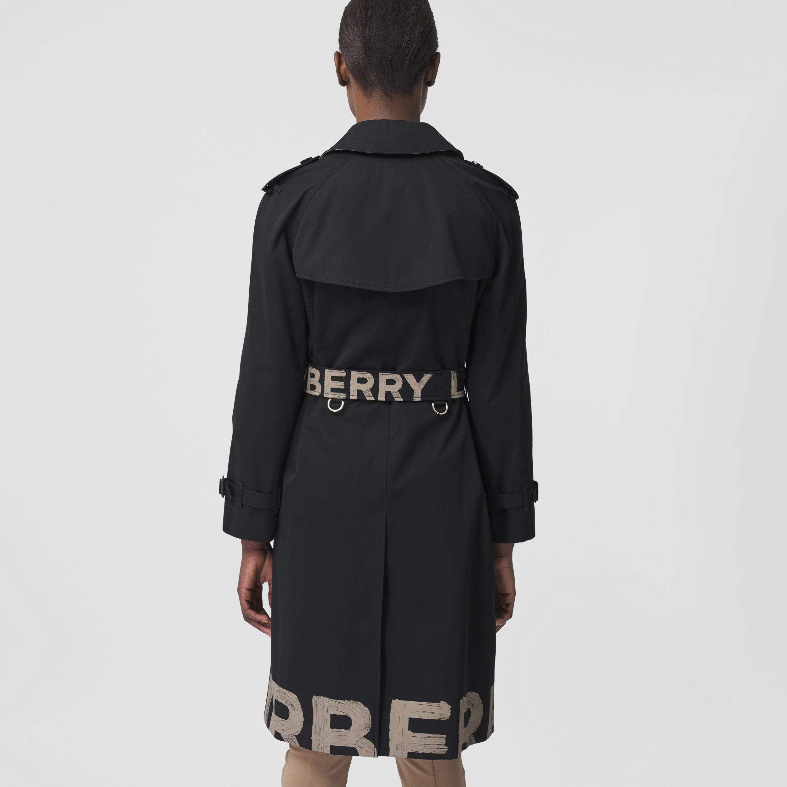 Logo Print Cotton Gabardine Trench Coat in Black - Women | Burberry United Kingdom - 3