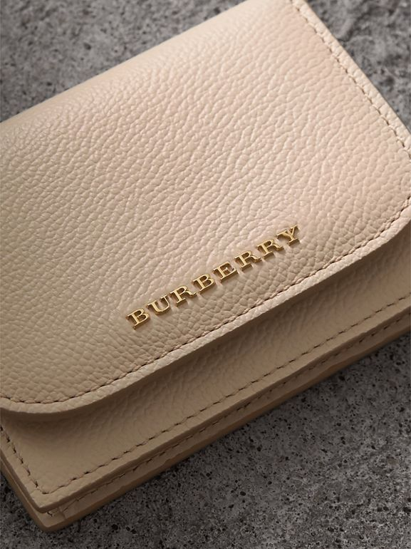 Grainy Leather Card Case in Limestone | Burberry - cell image 1