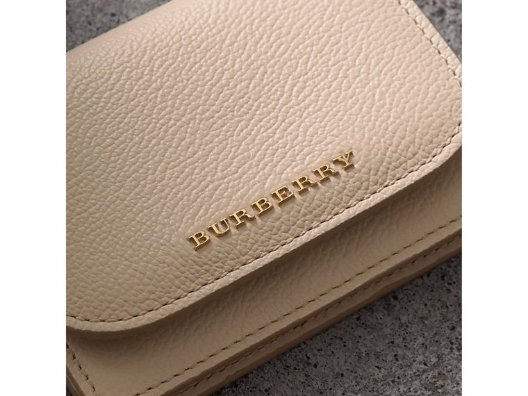 Grainy Leather Card Case in Limestone - Women | Burberry - cell image 1