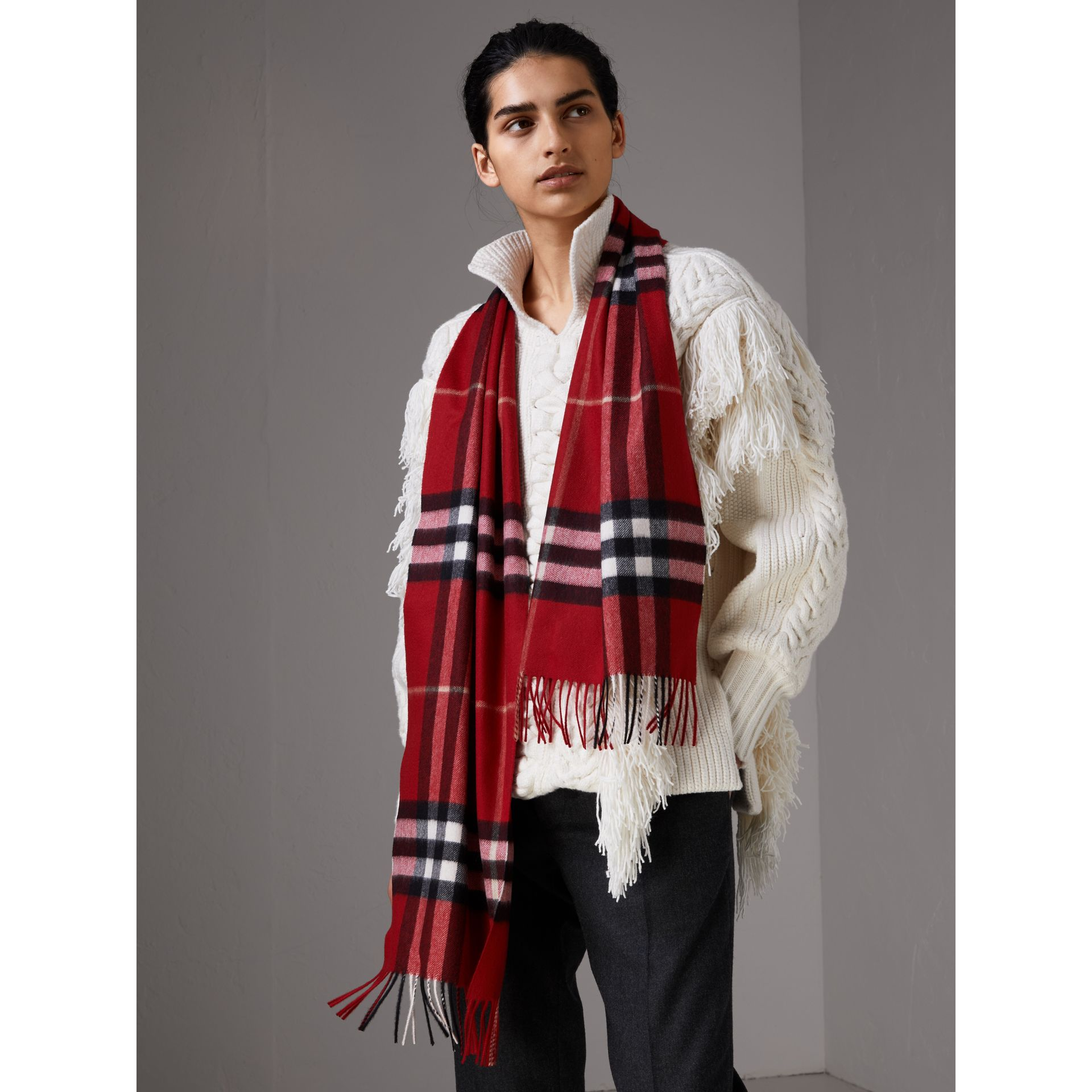 The Classic Check Cashmere Scarf in Parade Red | Burberry United Kingdom - gallery image 2