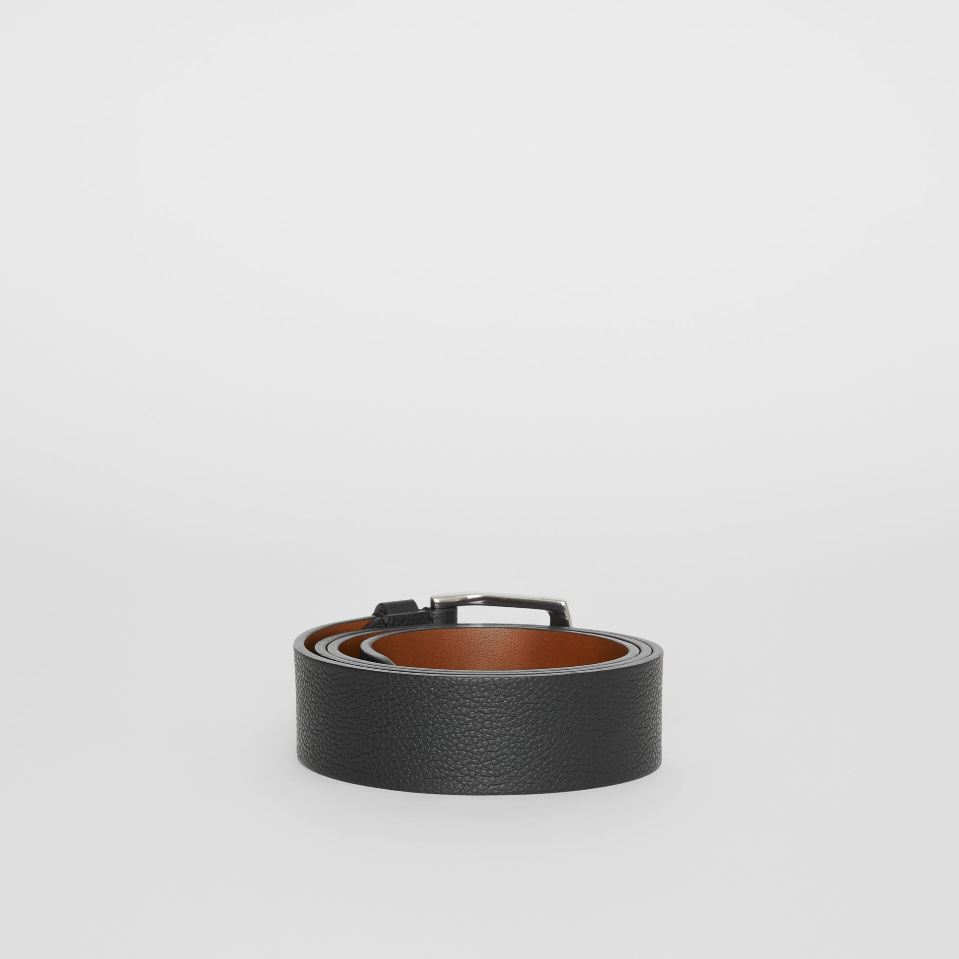 Grainy Leather Belt in Black - Men | Burberry - gallery image 4