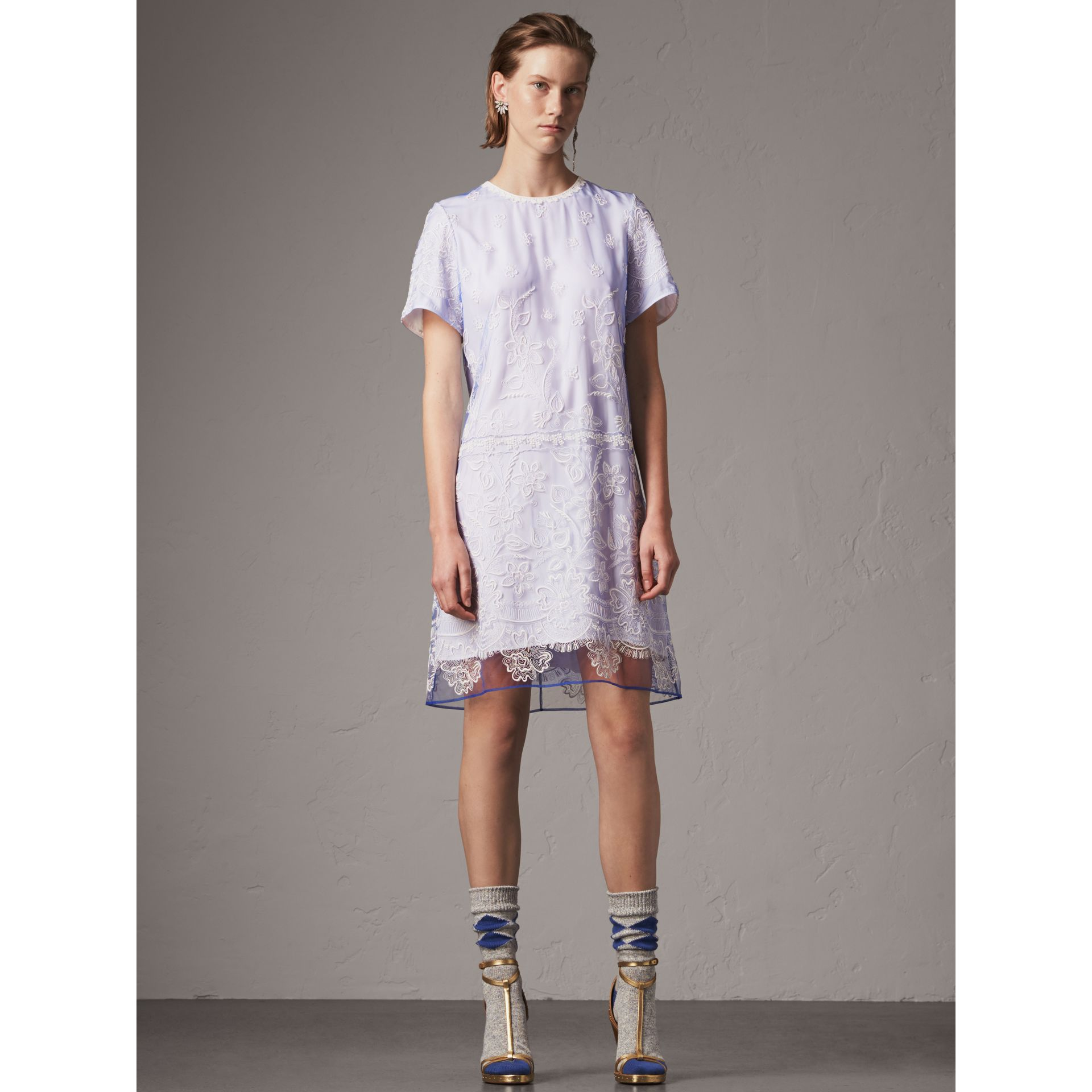 Floral-embroidered Tulle T-shirt Dress in Hydrangea Blue/white - Women | Burberry - gallery image 1