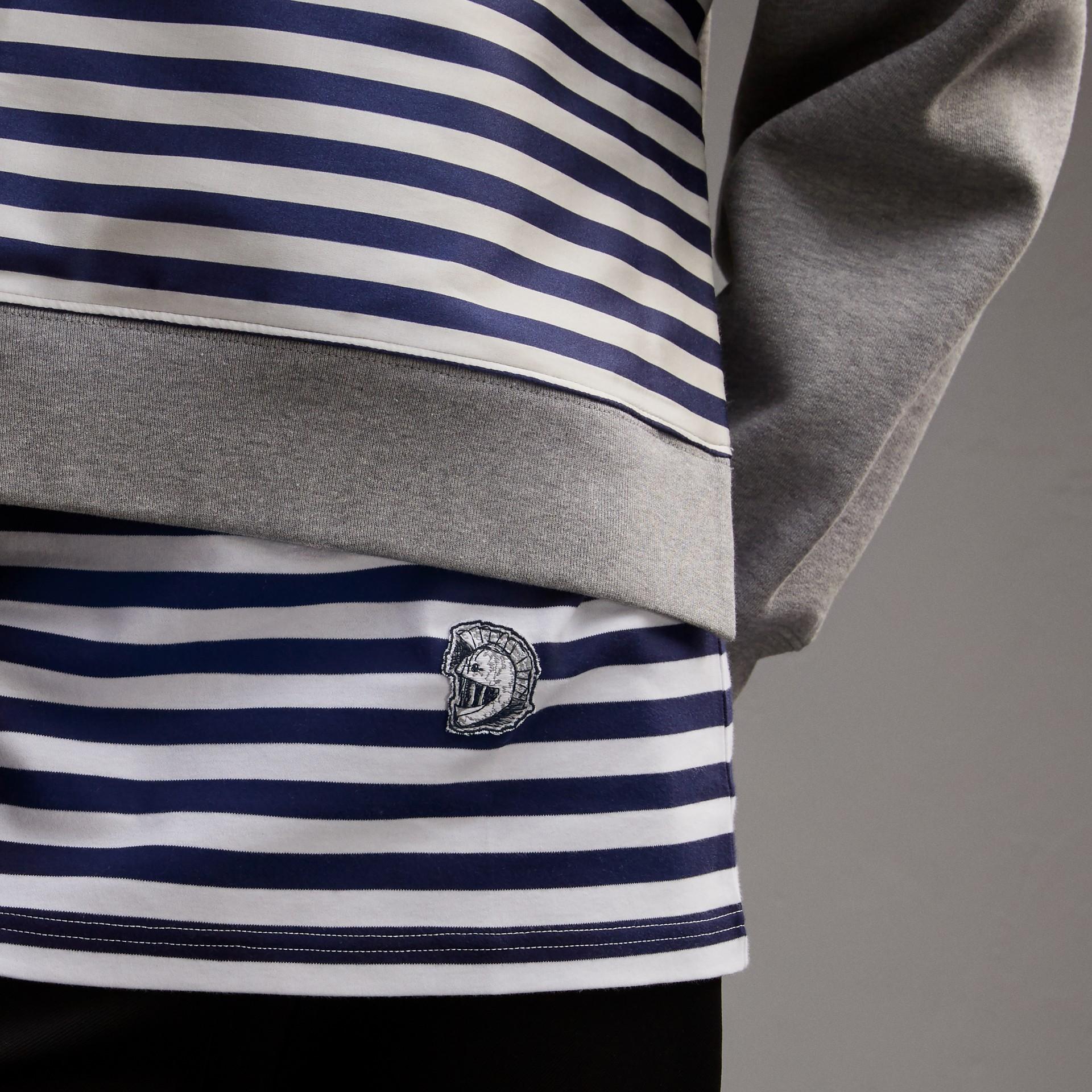 Unisex Striped Silk Cotton Panel Sweatshirt in Grey Melange - Men | Burberry - gallery image 6