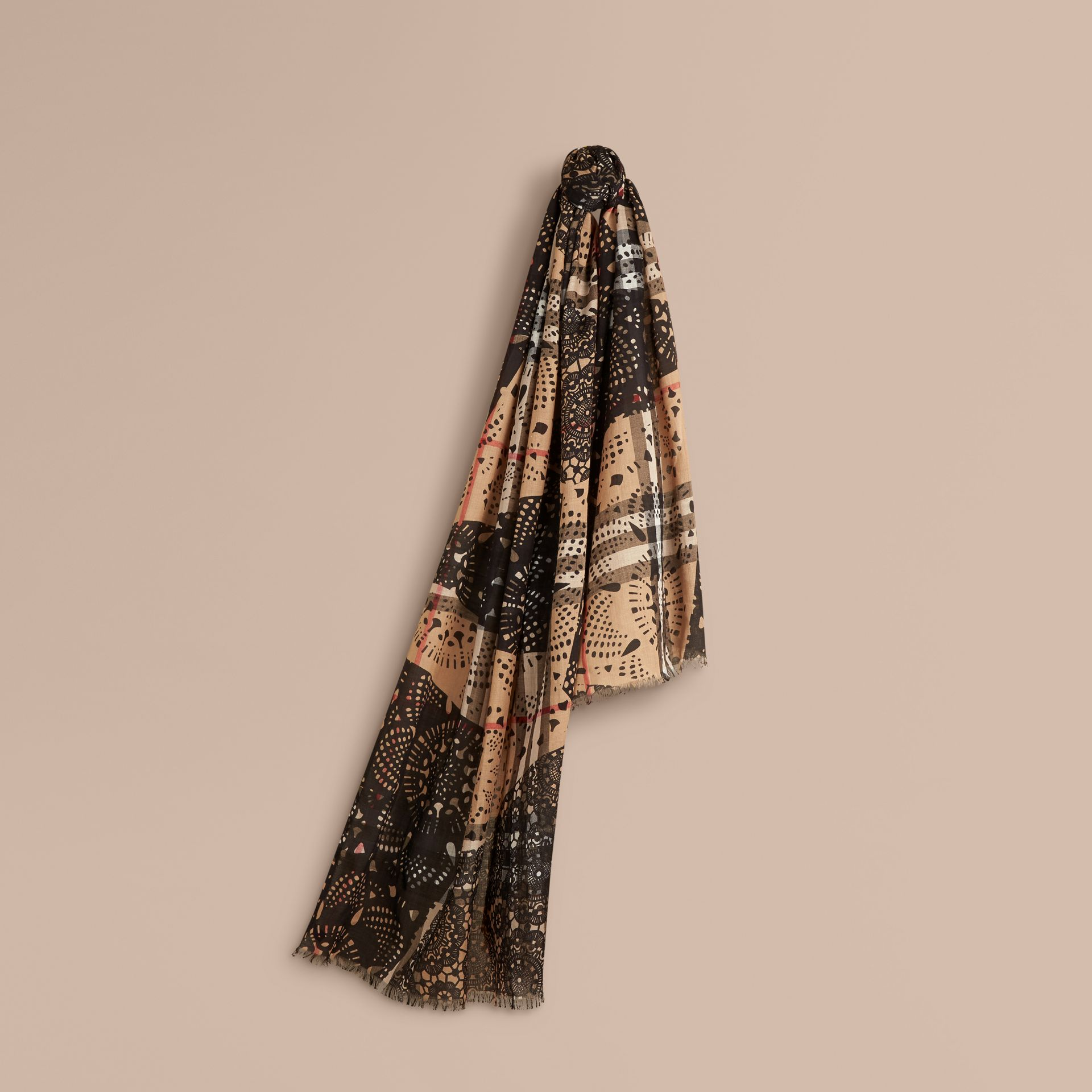 Camel/black Patchwork Lace Print Check Wool Silk Scarf - gallery image 1