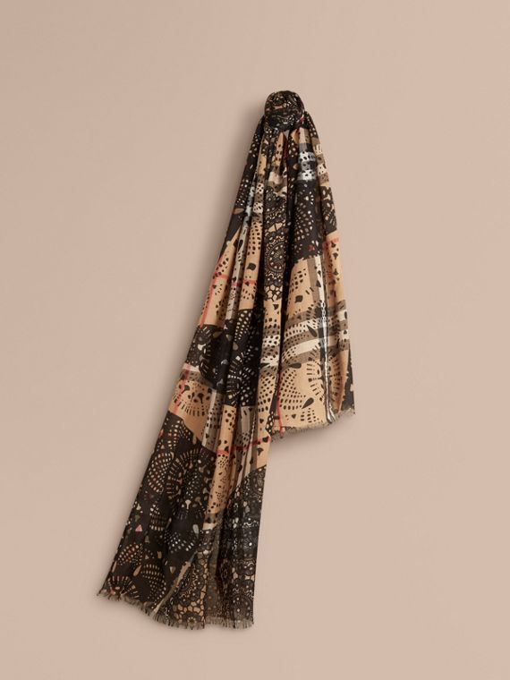 Patchwork Lace Print Check Wool Silk Scarf Camel/black
