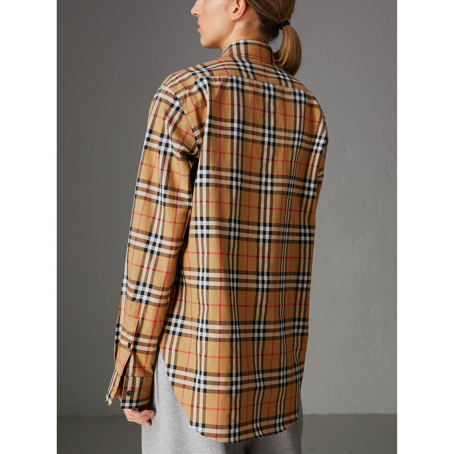 Rainbow Vintage Check Cotton Shirt in Antique Yellow - Women | Burberry Australia - gallery image 2