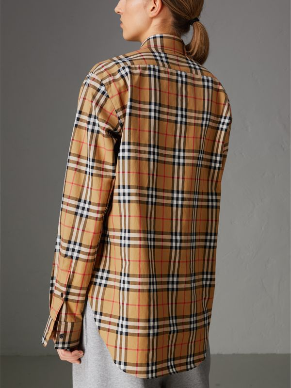 Rainbow Vintage Check Cotton Shirt in Antique Yellow - Women | Burberry Australia - cell image 2