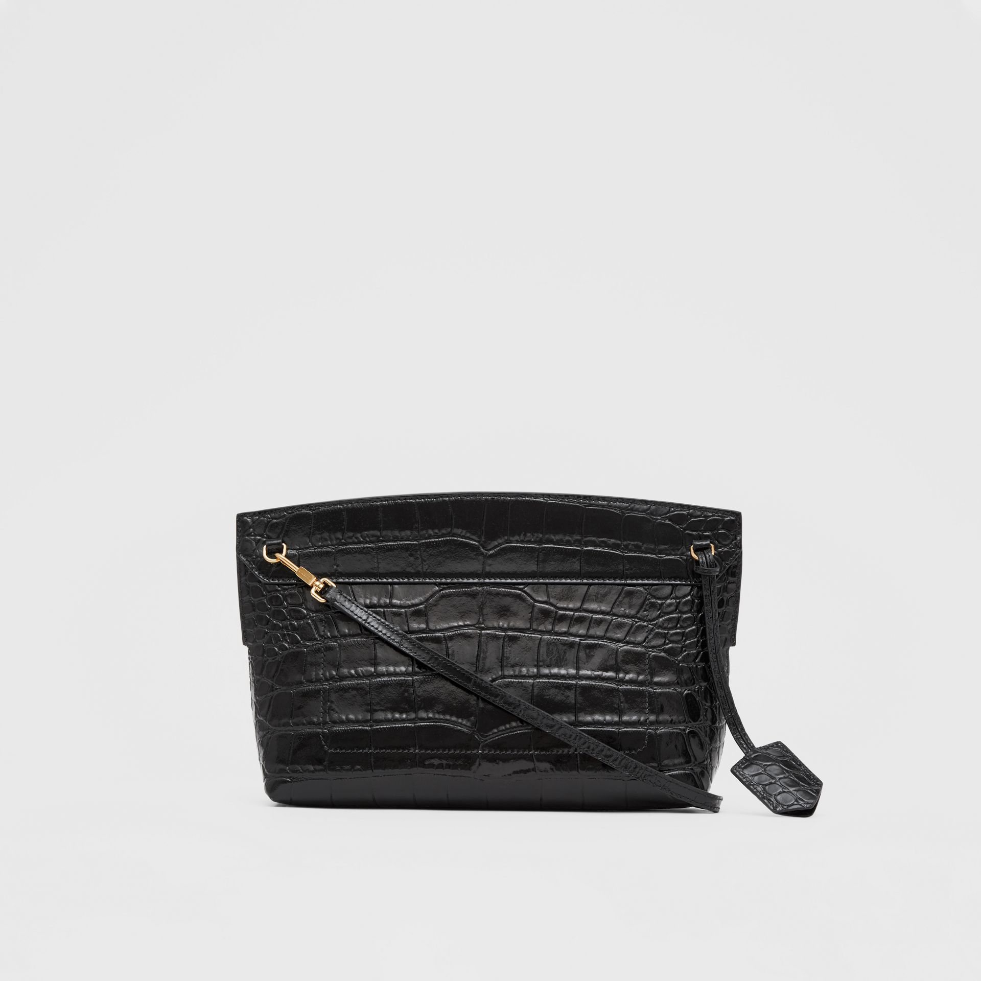 Embossed Leather Society Clutch in Black - Women | Burberry Singapore - gallery image 7