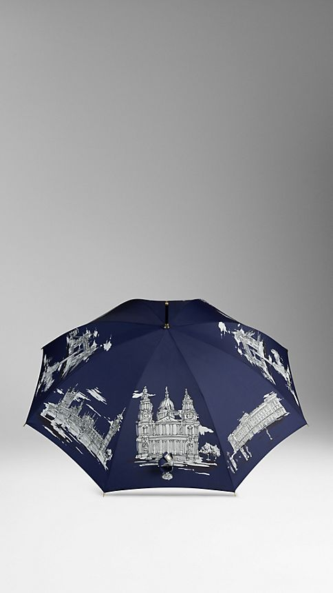 Brilliant navy print London Landmarks Walking Umbrella - Image 3