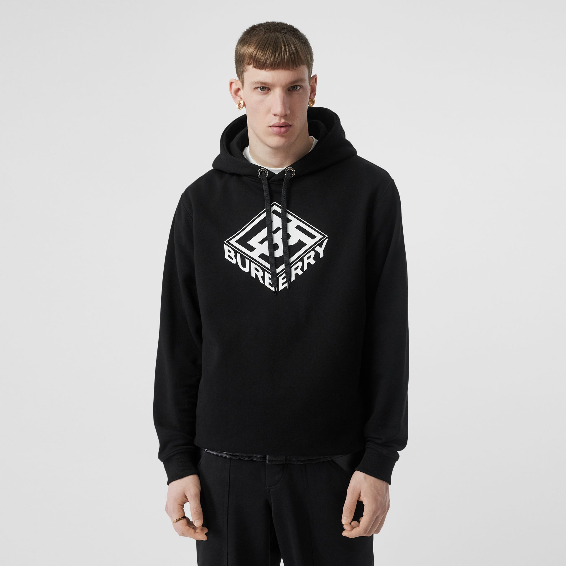 Logo Graphic Cotton Hoodie in Black - Men | Burberry Hong Kong S.A.R - gallery image 0
