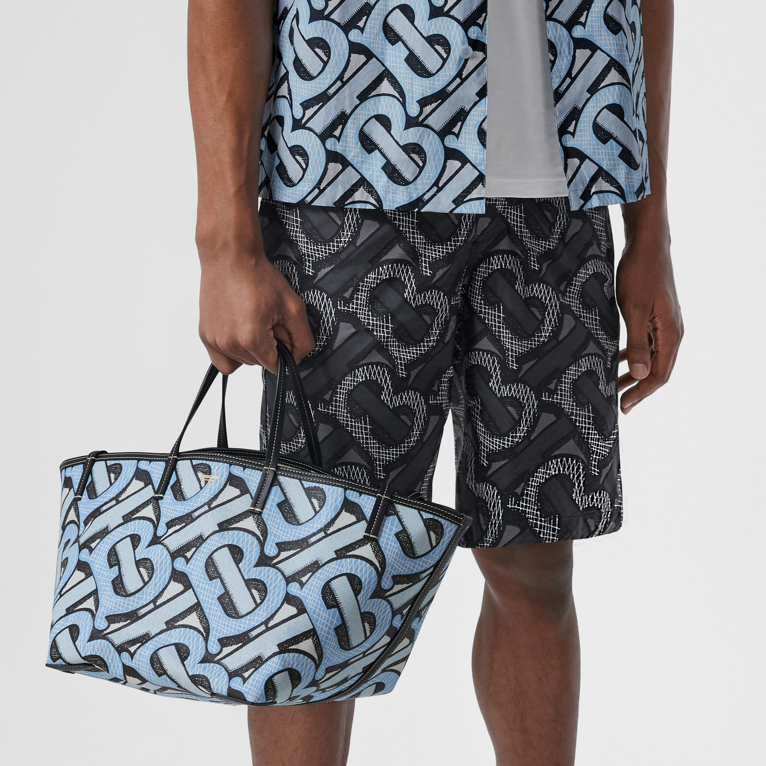 Mini Monogram Print E-canvas Beach Tote in Pale Azure | Burberry United States - 4