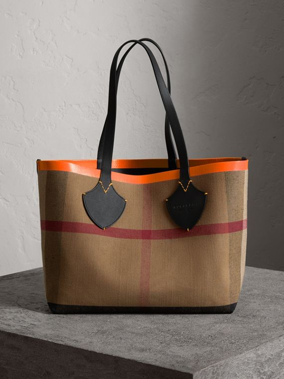 The Medium Giant Reversible Tote in Canvas and Leather in Black/neon Orange