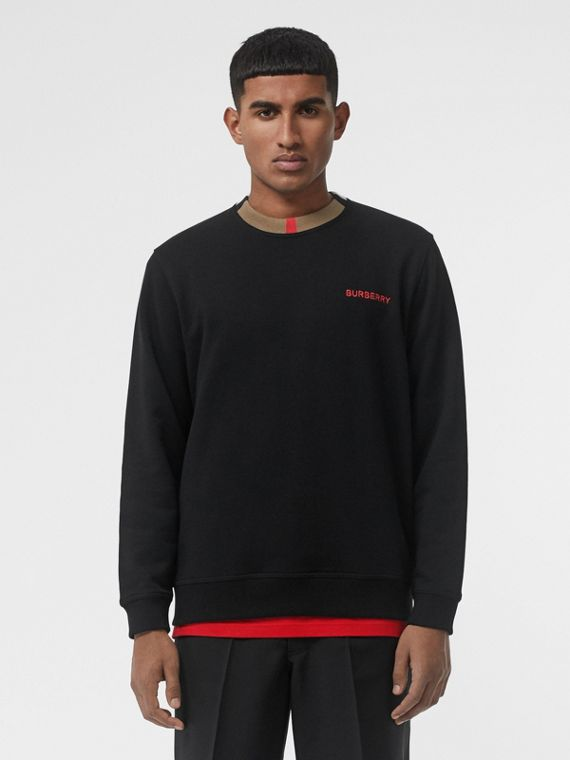 Icon Stripe Detail Cotton Sweatshirt in Black