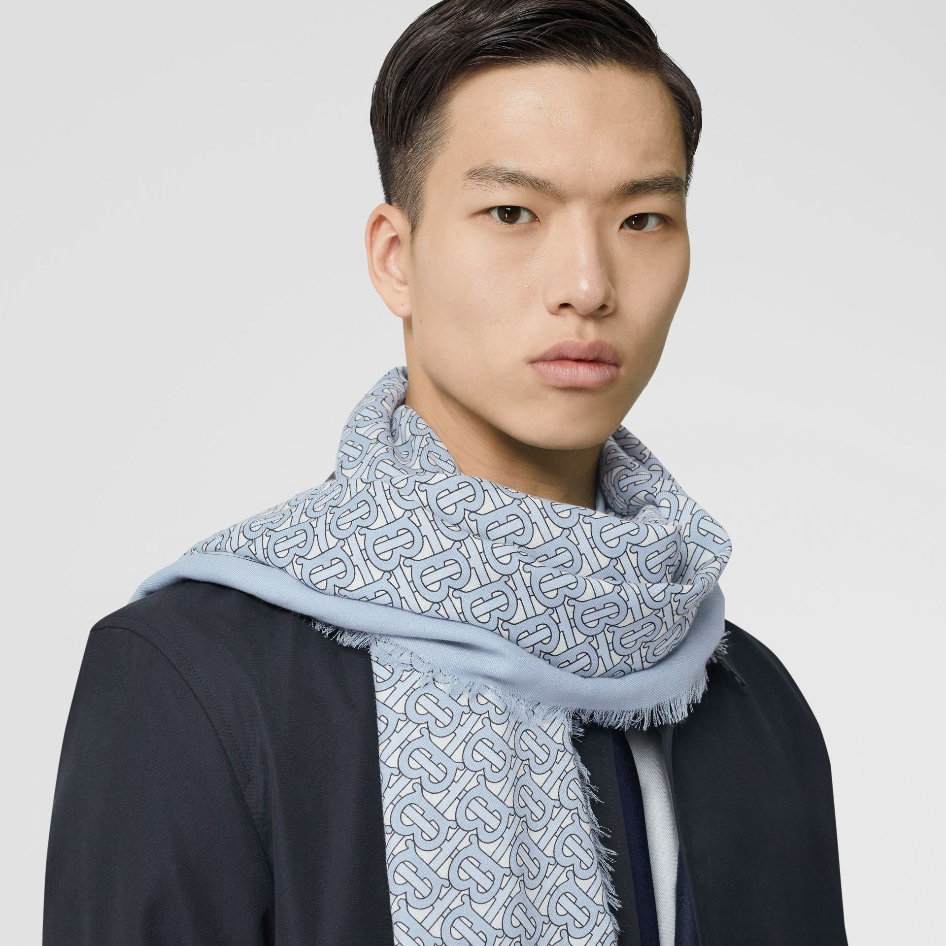 Monogram Print Lightweight Cashmere Scarf in Light Blue | Burberry United Kingdom - gallery image 3