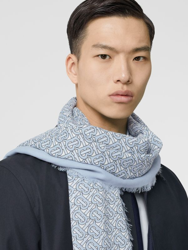 Monogram Print Lightweight Cashmere Scarf in Light Blue | Burberry - cell image 3