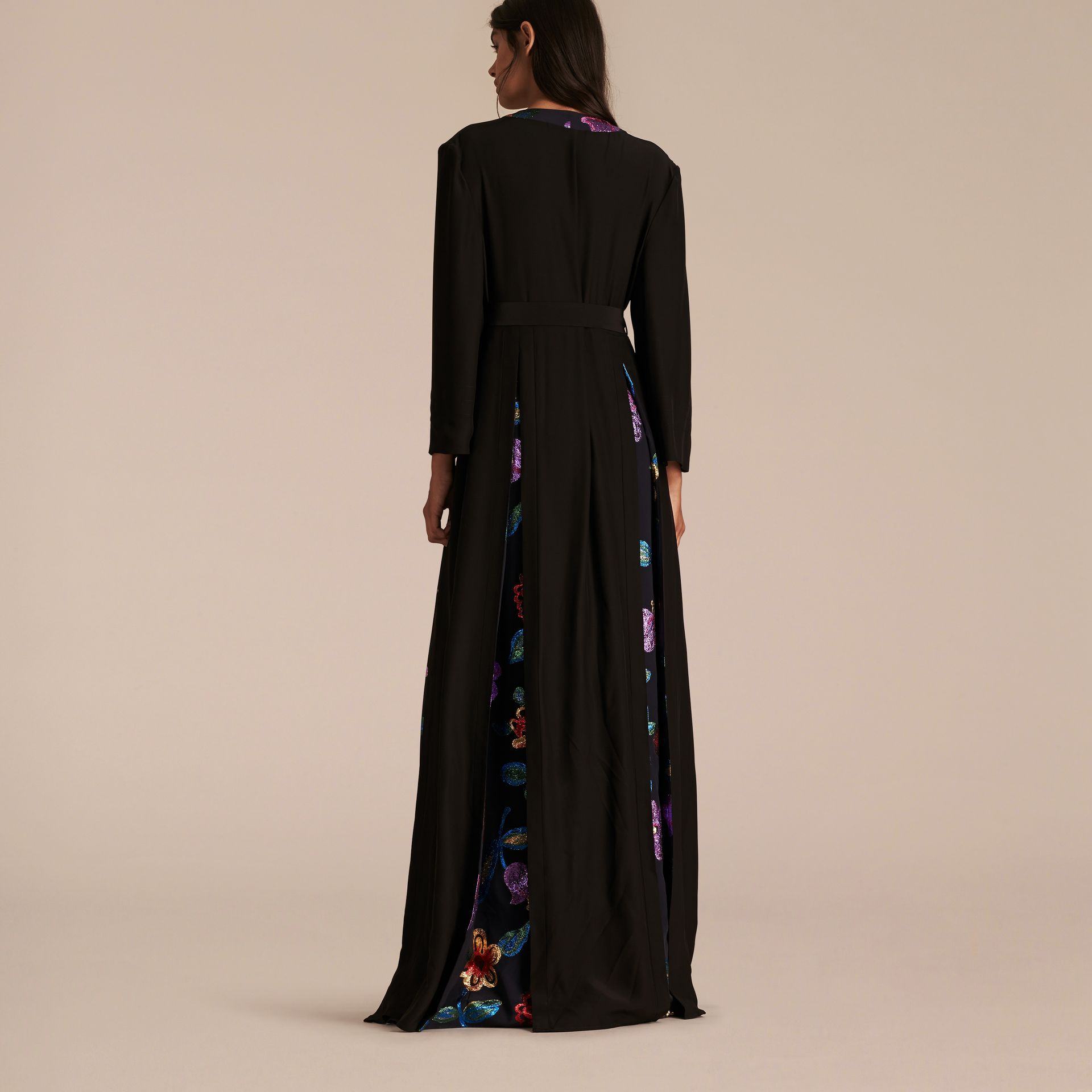 Black Floral Fil Coupé Trimmed Silk Wrap Gown - gallery image 3