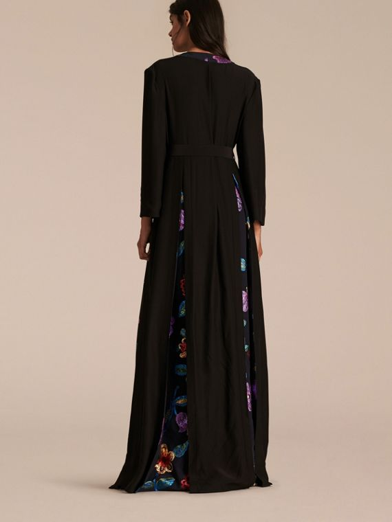 Black Floral Fil Coupé Trimmed Silk Wrap Gown - cell image 2