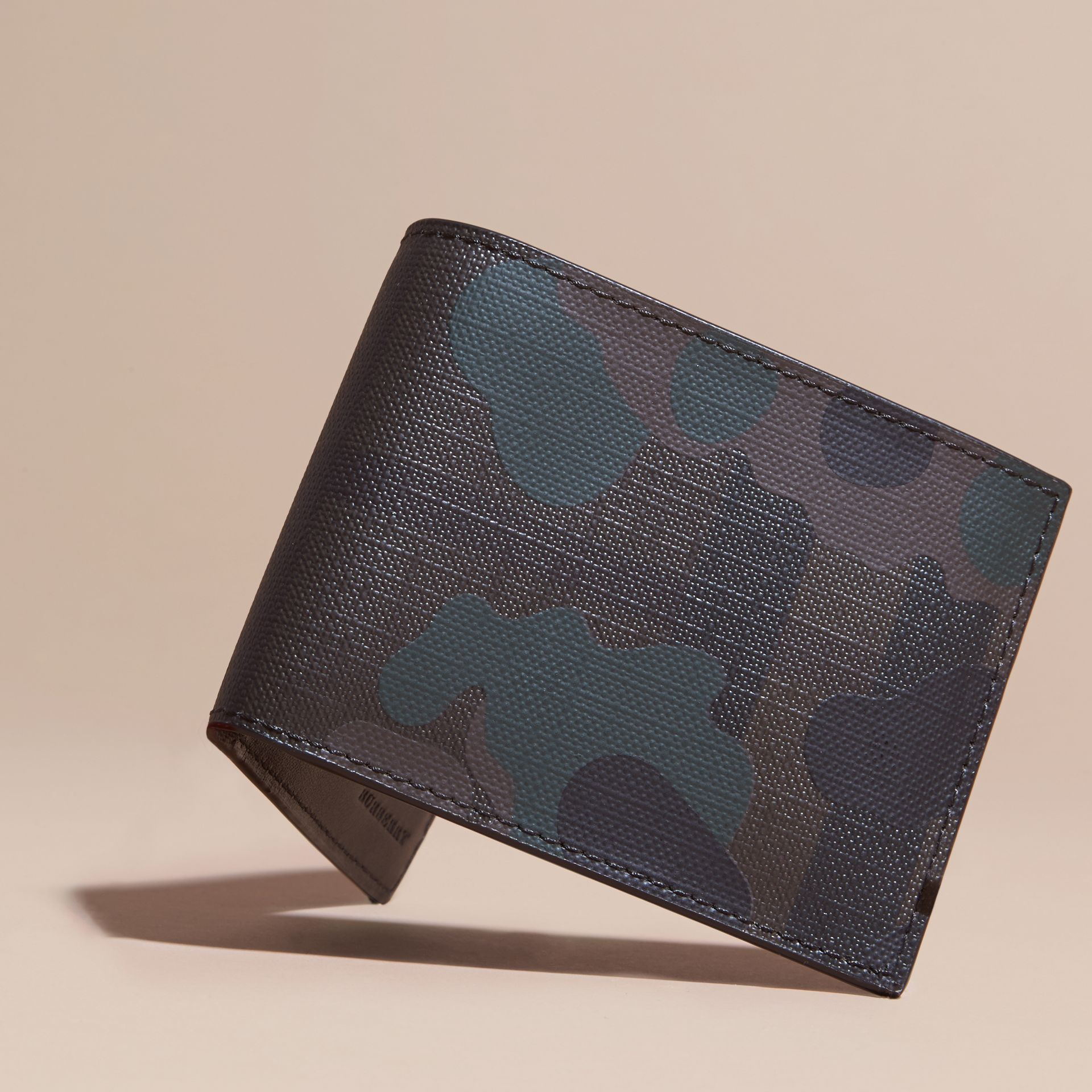Chocolate/camouflage Camouflage Print London Check Folding Wallet - gallery image 3