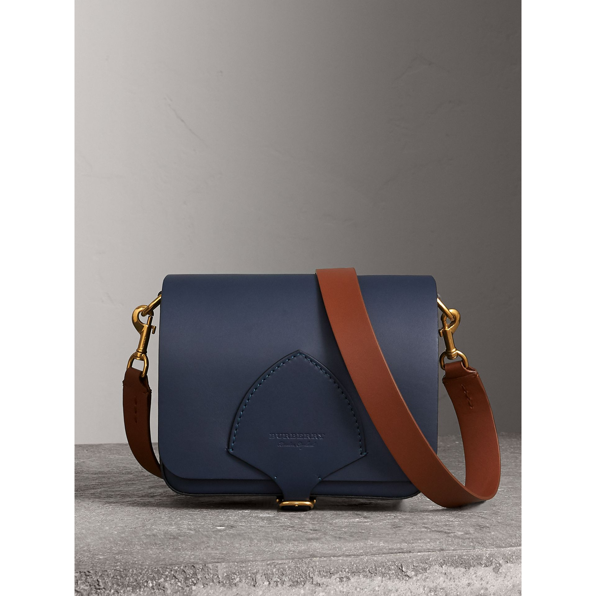 The Square Satchel in Leather in Indigo - Women | Burberry - gallery image 0