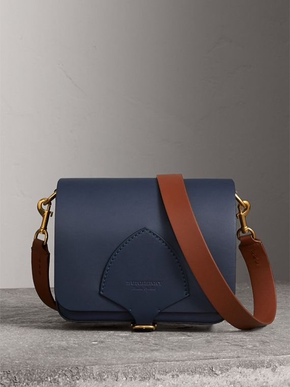 The Square Satchel in Leather in Indigo